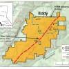 Eddy location map with shear zone